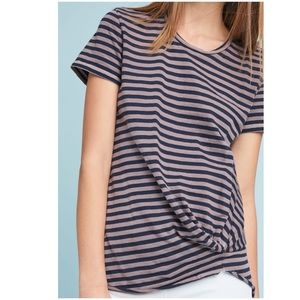 Anthropologie Stateside Twisted-Front Striped Tee